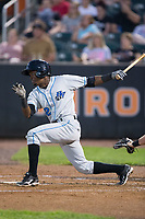 Vidal Brujan (2) of the Hudson Valley Renegades follows through on his swing against the Aberdeen IronBirds at Leidos Field at Ripken Stadium on July 27, 2017 in Aberdeen, Maryland.  The IronBirds defeated the Renegades 3-0 in game two of a double-header.  (Brian Westerholt/Four Seam Images)