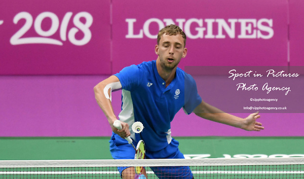 Patrick MACHUGH (SOC) in the mens doubles. Badminton. Mixed team event. XXI Commonwealth games. Carrara Sports hall 2. Gold Coast 2018. Queensland. Australia. 05/04/2018. ~ MANDATORY CREDIT Garry Bowden/SIPPA - NO UNAUTHORISED USE - +44 7837 394578