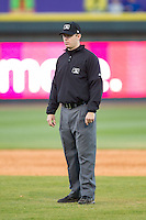 Umpire Brian Peterson handles the calls on the bases during the Carolina League game between the Salem Red Sox and the Winston-Salem Dash at BB&T Ballpark on April 20, 2014 in Winston-Salem, North Carolina.  The Dash defeated the Red Sox 10-8.  (Brian Westerholt/Four Seam Images)