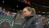 Portland, OR - Sunday, May 29, 2016: Seattle Reign FC head coach Laura Harvey. The Portland Thorns FC and the Seattle Reign FC played to a 0-0 tie during a regular season National Women's Soccer League (NWSL) match at Providence Park.