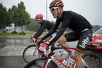 procycling masters Lars Bak (DEN/Lotto-Soudal) & Greg Henderson (NZL/Lotto-Soudal) staying calm in the storm<br /> <br /> stage 5: Eindhoven - Boxtel (183km)<br /> 29th Ster ZLM Tour 2015