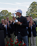 Cromwell, CT-25 JUNE 25 2017-062517MK06 Jordan Spieth sunk a shot from the sand bunker along the 18th green Sunday afternoon to win the playoff hole at the final round of the 2017 Travelers Championship at the TPC River Highlands in Cromwell. Michael Kabelka / Republican-American