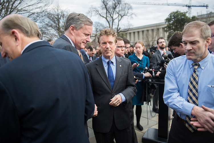 UNITED STATES - MARCH 7: From left, Reps. Louie Gohmert, R-Texas, Mark Meadows, R-N.C., Sen. Rand Paul, R-Ky., and Rep. Jim Jordan, R-Ohio, conclude a news conference with members of the House Freedom Caucus at the House Triangle where they criticized the House Republican's new healthcare plan, American Health Care Act, March 7, 2017. (Photo By Tom Williams/CQ Roll Call)