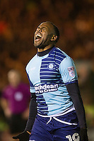 Myles Weston of Wycombe Wanderers celebrates scoring his side's third goal during the Sky Bet League 2 match between Plymouth Argyle and Wycombe Wanderers at Home Park, Plymouth, England on 26 December 2016. Photo by Mark  Hawkins / PRiME Media Images.