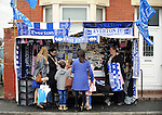 A portable store selling Everton merchandise outside Goodison park<br /> - Barclays Premier League - Everton vs Leicester City - Goodison Park - Liverpool - England - 19th December 2015 - Pic Robin Parker/Sportimage