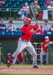 12 March 2014: Washington Nationals outfielder Brian Goodwin at bat during a Spring Training game against the Houston Astros at Osceola County Stadium in Kissimmee, Florida. The Astros rallied in the bottom of the 9th to edge out the Nationals 10-9 in Grapefruit League play. Mandatory Credit: Ed Wolfstein Photo *** RAW (NEF) Image File Available ***