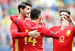 Spain's Alvaro Morata, Thiago Alcantara and Hector Bellerin celebrate goal during friendly match. June 1,2016.(ALTERPHOTOS/Acero)