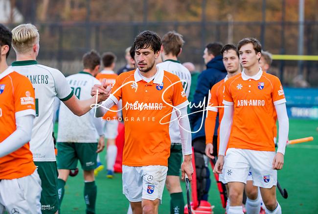 BLOEMENDAAL - Florian Fuchs (Bldaal) en Casper van der Veen (Bldaal) na  hoofdklasse competitiewedstrijd  heren , Bloemendaal-Rotterdam (1-1) .COPYRIGHT KOEN SUYK