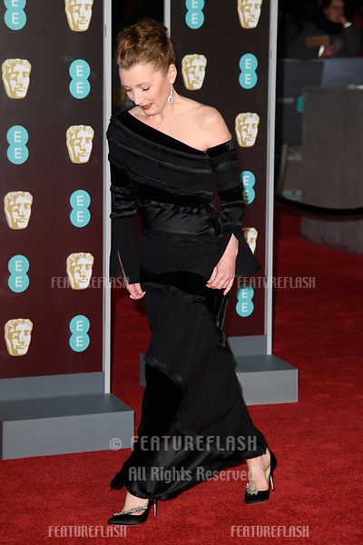 Lesley Manville arriving for the BAFTA Film Awards 2018 at the Royal Albert Hall, London, UK. <br /> 18 February  2018<br /> Picture: Steve Vas/Featureflash/SilverHub 0208 004 5359 sales@silverhubmedia.com