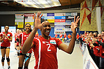 Rüsselsheim, Germany, April 13: Dominique Lamb #2 of the Rote Raben Vilsbiburg celebrates the win over VC Wiesbaden of play off Game 1 in the best of three series in the semifinal of the DVL (Deutsche Volleyball-Bundesliga Damen) season 2013/2014 between the VC Wiesbaden and the Rote Raben Vilsbiburg on April 13, 2014 at Grosssporthalle in Rüsselsheim, Germany. Final score 0:3 (Photo by Dirk Markgraf / www.265-images.com) *** Local caption ***