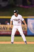 Tri-City ValleyCats third baseman Nick Tanielu (30) leads off second during a game against the Batavia Muckdogs on August 2, 2014 at Joseph L. Bruno Stadium in Troy, New  York.  Tri-City defeated Batavia 8-4.  (Mike Janes/Four Seam Images)