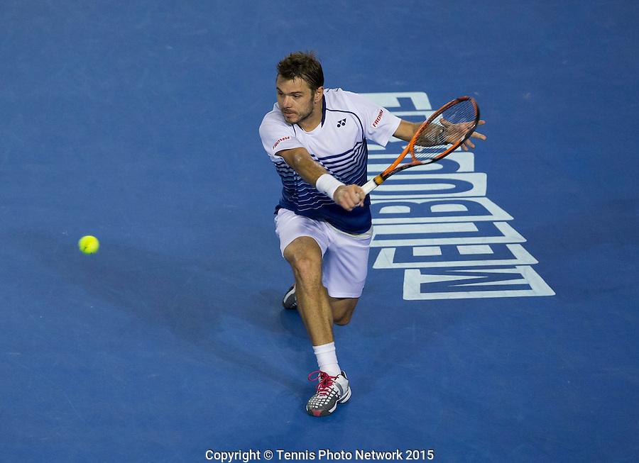 STAN WAWRINKA (SUI)<br /> <br /> Tennis - Australian Open 2015 - Grand Slam -  Melbourne Park - Melbourne - Victoria - Australia  - 30 January 2015. <br /> &copy; AMN IMAGES