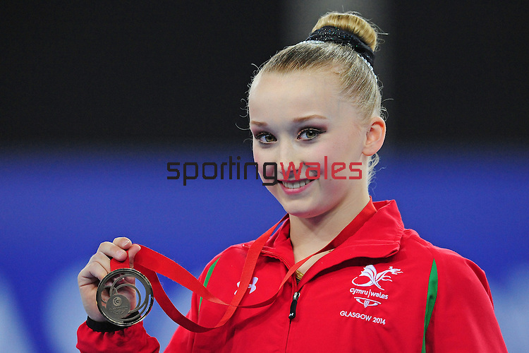 Wales' Georgina Hockenhull poses with her bronze medal for the women's gymnastics artistic balance beam final<br /> <br /> Photographer Chris Vaughan/Sportingwales<br /> <br /> 20th Commonwealth Games - Day 9 - Friday 1st August 2014 - Gymnastics - SECC - Glasgow - UK