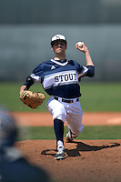 UW-Stout Blue Devils pitcher Jacob Frederick (21) during the second game of a doubleheader against the Edgewood Eagles on March 16, 2015 at Lee County Player Development Complex in Fort Myers, Florida.  UW-Stout defeated Edgewood 8-2.  (Mike Janes/Four Seam Images)