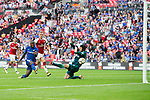 Victor Moses of Chelsea scoring the opening goal during the The FA Community Shield match at Wembley Stadium, London. Picture date 6th August 2017. Picture credit should read: Charlie Forgham-Bailey/Sportimage