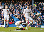 Nikica Jelavic connects with a Vladimir Weiss free-kick to score his second goal and Rangers third