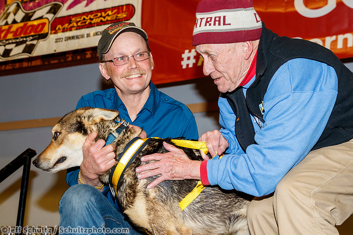 The City of Nome Lolly Medley Memorial Golden Harness Award is presented by Richard Beneville, mayor of Nome to Pilot, Mitch Seavey's lead dog at the Nome Musher's Award Banquet during the 2017 Iditarod on Sunday March 19, 2017.<br /> <br /> Photo by Jeff Schultz/SchultzPhoto.com  (C) 2017  ALL RIGHTS RESERVED
