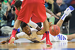Forward Marcus Lee of the Kentucky Wildcats fights for a loose ball during the NCAA Tournament first round game against the Stony Brook Seawolves at Wells Fargo Arena on Thursday, March 17, 2016 in Des Moines, Iowa. Photo by Michael Reaves | Staff.