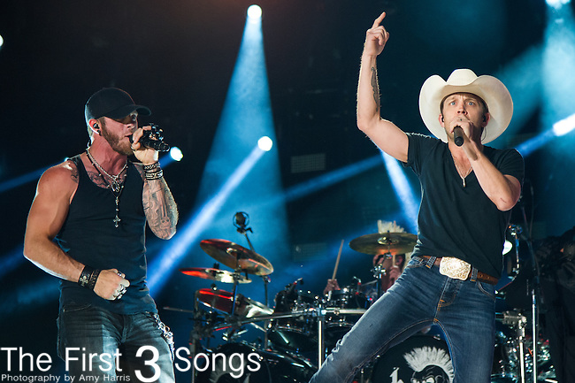 Brantley Gilbert performs with Justin Moore at LP Field during Day One of the 2014 CMA Music Festival in Nashville, Tennessee.