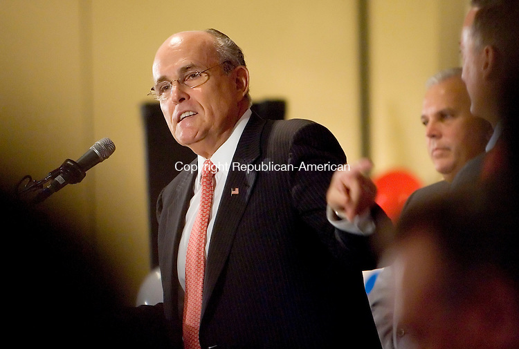WATERBURY, CT- 01 OCTOBER 2008 --100108JS07--Former New York City Mayor Rudy Giuliani was the keynote speaker at a fundraiser for Sen. David Cappiello, R-Danbury, a candidate for the Congressional 5th District, Wednesday at the Ponte Club in Waterbury. Cappiello is running against Democratic Congressman Chris Murphy.<br /> Jim Shannon / Republican-American