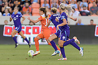 Andressa (17) of the Houston Dash races for the Orlando Pride goal with Becky Edwards (14) of the Orlando Pride in pursuit on Friday, May 20, 2016 at BBVA Compass Stadium in Houston Texas. The Orlando Pride defeated the Houston Dash 1-0.