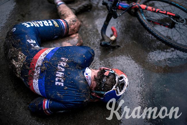 Ugo Ananie (FRA) post race exhausted.<br /> <br /> Men's Junior race<br /> UCI 2020 Cyclocross World Championships<br /> Dübendorf / Switzerland<br /> <br /> ©kramon