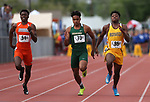 From left, Bishop Gorman's Kyu Kelly, Bishop Manogue's Peyton Dixon and Bonanza's Joey Fox compete in the 4A 100-meter dash the NIAA Track & Field Championships at Carson High in Carson City, Nev., on Friday, May 18, 2018. Cathleen Allison/Las Vegas Review-Journal