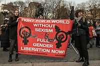 NEW YORK, NY - MARCH 8: Two women hold a banner during a rally to mark International Women's Day at Union Square on March 08, 2019. (Photo by Maite H. Mateo/VIEWpress)
