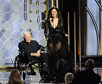 Kirk Douglas and Catherine Zeta Jones on stage at the 75th Annual Golden Globe Awards at the Beverly Hilton in Beverly Hills, CA on Sunday, January 7, 2018.<br /> *Editorial Use Only*<br /> CAP/PLF/HFPA<br /> &copy;HFPA/PLF/Capital Pictures