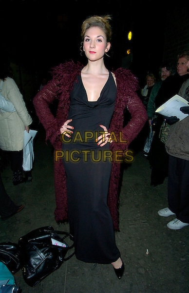 """SUMMER STRALLEN.Attends """"Follies"""" Gala Concert at the London Palladium,.London, England, February 4th 2007..full length black dress slit leg maroon burgundy coat long cardigan hands on hips.CAP/CAN.©Can Nguyen/Capital Pictures"""