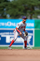Auburn Doubledays shortstop Jose Sanchez (9) during a game against the Batavia Muckdogs on September 3, 2018 at Dwyer Stadium in Batavia, New York.  Auburn defeated Batavia 8-5.  (Mike Janes/Four Seam Images)