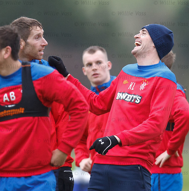 Kyle Lafferty and Kirk Broadfoot having a chuckle