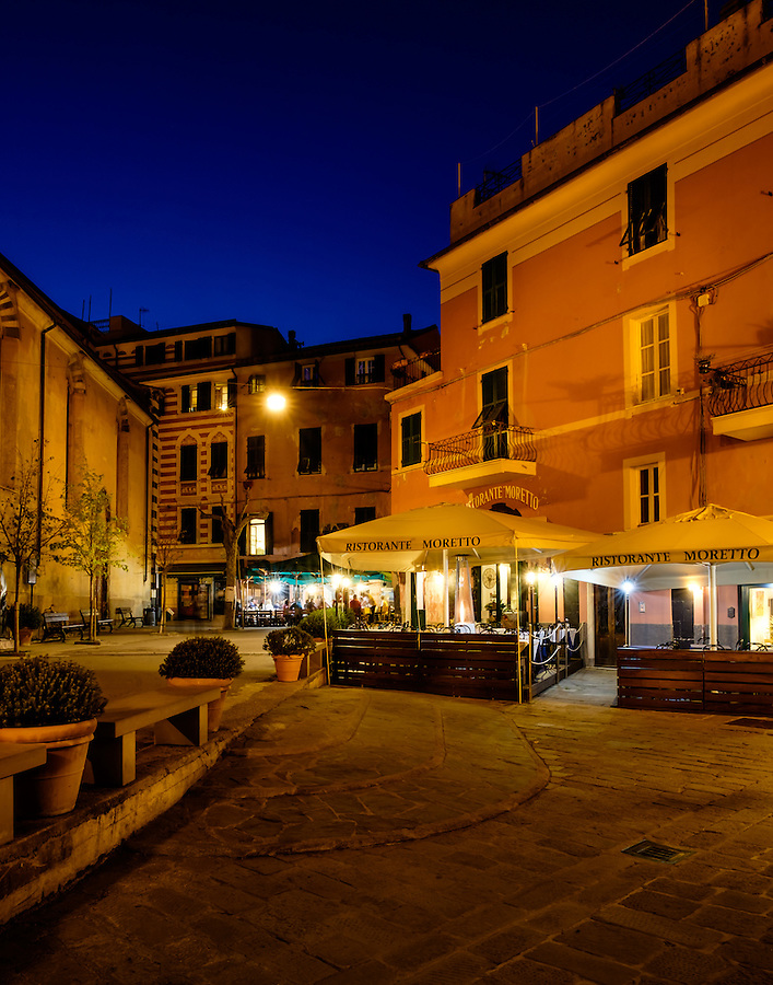 MONTEROSSO AL MARE, ITALY - CIRCA MAY 2015:  Streets of Monterroso Al Mare at night in Cinque Terre, Italy.