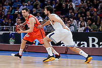 Real Madrid's Sergio Llull and Valencia Basket's Rafa Martinez during Quarter Finals match of 2017 King's Cup at Fernando Buesa Arena in Vitoria, Spain. February 19, 2017. (ALTERPHOTOS/BorjaB.Hojas)