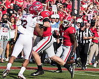 Athens, GA - November 4, 2017: The number 1 ranked University of Georgia Bulldogs host the University of South Carolina Gamecocks at Sanford Stadium.  Final score UGA 24, USC 10.