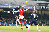 New signing Toumani Diagouraga of Fleetwood Town challenges for the header during the Sky Bet League 1 match between Southend United and Fleetwood Town at Roots Hall, Southend, England on 13 January 2018. Photo by Carlton Myrie.