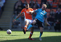 Blackpool's Curtis Tilt battles with Fleetwood Town's Paddy Madden<br /> <br /> Photographer Mick Walker/CameraSport<br /> <br /> The EFL Sky Bet League One - Blackpool v Fleetwood Town - Saturday 14th April 2018 - Bloomfield Road - Blackpool<br /> <br /> World Copyright &copy; 2018 CameraSport. All rights reserved. 43 Linden Ave. Countesthorpe. Leicester. England. LE8 5PG - Tel: +44 (0) 116 277 4147 - admin@camerasport.com - www.camerasport.com