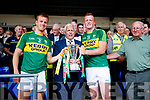Kerry Captains Fionn Fitzgerald and Johnny Buckley with the cup after their victory over Cork in the Munster Senior Football Final at Fitzgerald Stadium on Sunday.