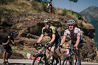 Mathew Hayman (AUS/Mitchelton-Scott) &amp; Daryl Impey (ZAF/Mitchelton-Scott) up the final climb of the day (in Spain!): the Col du Portillon (Cat1/1292m)<br /> <br /> Stage 16: Carcassonne &gt; Bagn&egrave;res-de-Luchon (218km)<br /> <br /> 105th Tour de France 2018<br /> &copy;kramon