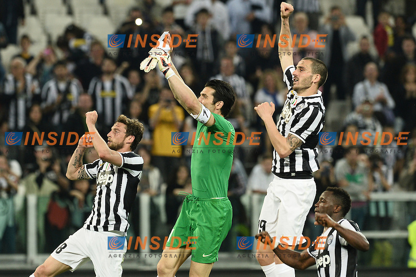 Claudio Marchisio, Gianluigi Buffon, Leonardo Bonucci Juventus <br /> Torino 07-04-2014 Juventus Stadium - Football Calcio 2013/2014 Serie A, Juventus - Livorno <br /> foto Matteo Gribaudi/Image Sport/Insidefoto