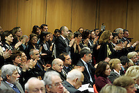 Magistrati applaudono al termine dell'intervento del Presidente della Corte d'Appello di Roma Giorgio Santacroce, durante la cerimonia di inaugurazione dell'Anno Giudiziario a Roma, 30 gennaio 2010..Magistrates applaud the Rome's Court of Appeal President Giorgio Santacroce at the end of his speech during the inauguration ceremony of the Judicial Year in Rome, 30 january 2010..UPDATE IMAGES PRESS/Riccardo De Luca