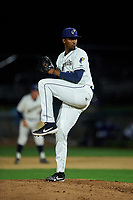 Tri-City Dust Devils relief pitcher Starlin Cordero (27) delivers a pitch during a Northwest League game against the Vancouver Canadians at Gesa Stadium on August 21, 2019 in Pasco, Washington. Vancouver defeated Tri-City 1-0. (Zachary Lucy/Four Seam Images)