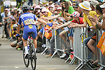 Julian Alaphilippe (FRA) Quick-Step Floors arrives at sign on before the start of Stage 6 of the 2018 Tour de France running 181km from Brest to Mur-de-Bretagne Guerledan, France. 12th July 2018. <br /> Picture: ASO/Pauline Ballet | Cyclefile<br /> All photos usage must carry mandatory copyright credit (© Cyclefile | ASO/Pauline Ballet)