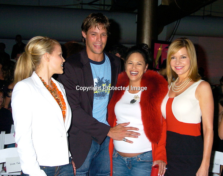 Alexa Havins, Justin Bruening, Terri Ivens and Bobbie Eakes ..at the David Rodriguez Spring 2004 Fashion Show on ..September 11, 2004 at Mao at the Altman Building...Photo by Robin Platzer, Twin Images