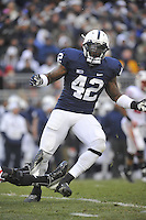 24 November 2012:  Penn State LB Gerald Hodges wore Michael Mauti's #42 jersey for the final game. The Penn State Nittany Lions defeated the Wisconsin Badgers 24-21 in OT overtime at Beaver Stadium in State College, PA.