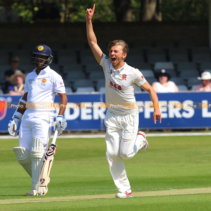 Aaron Beard of Essex celebrates taking the wicket of Kaushal Silva of Sri Lanka during Essex CCC vs Sri Lanka, Tourist Match Cricket at the Essex County Ground on 8th May 2016