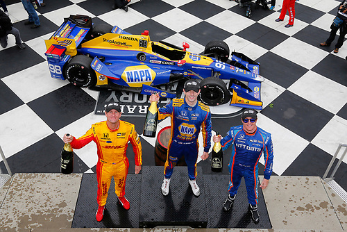 Verizon IndyCar Series<br /> IndyCar Grand Prix at the Glen<br /> Watkins Glen International, Watkins Glen, NY USA<br /> Sunday 3 September 2017<br /> Alexander Rossi, Curb Andretti Herta Autosport with Curb-Agajanian Honda, Ryan Hunter-Reay, Andretti Autosport Honda, Scott Dixon, Chip Ganassi Racing Teams Honda celebrate on the podium<br /> World Copyright: Phillip Abbott<br /> LAT Images<br /> ref: Digital Image abbott_wglen_0817_10747