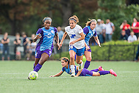 Allston, MA - Sunday July 31, 2016: Jamia Fields, Angela Salem, Samantha Witteman, Maddy Evans during a regular season National Women's Soccer League (NWSL) match between the Boston Breakers and the Orlando Pride at Jordan Field.