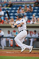 Pensacola Blue Wahoos Shrimp third baseman Mitch Nay (28) follows through on a swing during a game against the Jacksonville Jumbo on August 15, 2018 at Blue Wahoos Stadium in Pensacola, Florida.  Jacksonville defeated Pensacola 9-2.  (Mike Janes/Four Seam Images)