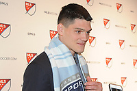 Philadelphia, PA - Thursday January 19, 2018: Eric Dick during the 2018 MLS SuperDraft at the Pennsylvania Convention Center.